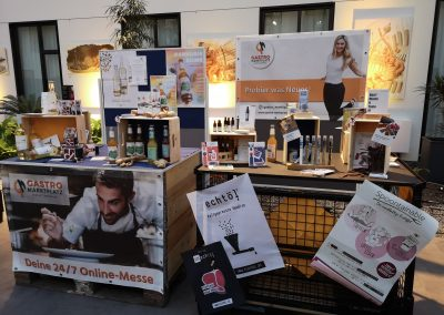 Stand von Gastro-Marktplatz auf dem Camp for F&B&E Lovers 2020 in Berlin
